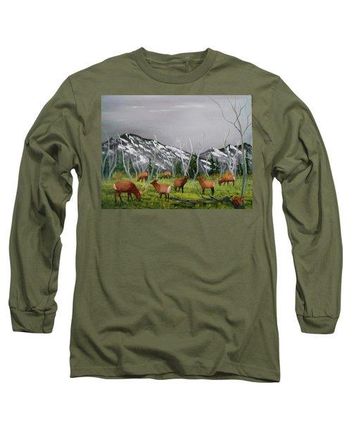 Feeding Elk Long Sleeve T-Shirt by Al Johannessen