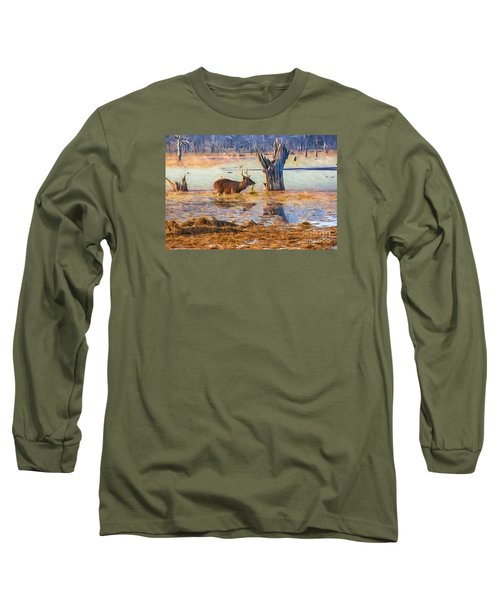 Feeding In The Lake Long Sleeve T-Shirt by Pravine Chester