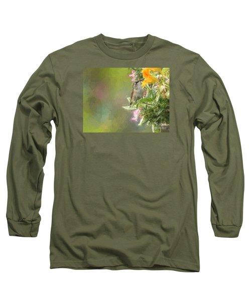 Female Rufous Hummingbird Long Sleeve T-Shirt by Suzanne Handel