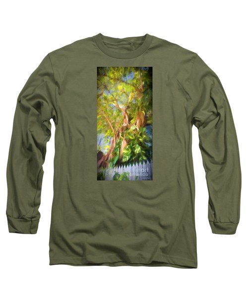 Long Sleeve T-Shirt featuring the digital art Fence And Trees In Keys by Linda Olsen