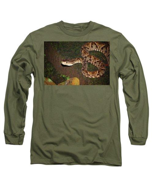 Long Sleeve T-Shirt featuring the photograph Fer-de-lance, Botherops Asper by Breck Bartholomew