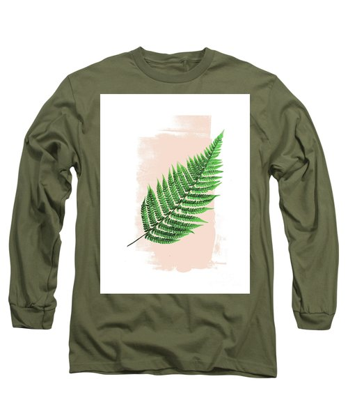 Fern Leaf On Pink Long Sleeve T-Shirt