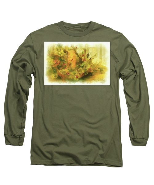 Long Sleeve T-Shirt featuring the photograph Festive Holiday Candle by Lois Bryan