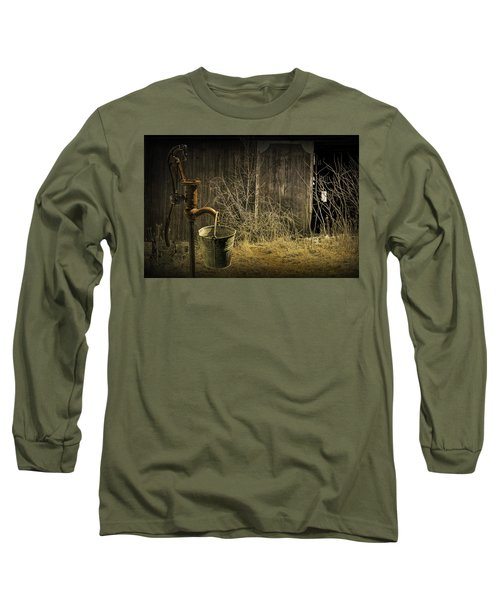 Fetching Water From The Old Pump Long Sleeve T-Shirt by Randall Nyhof
