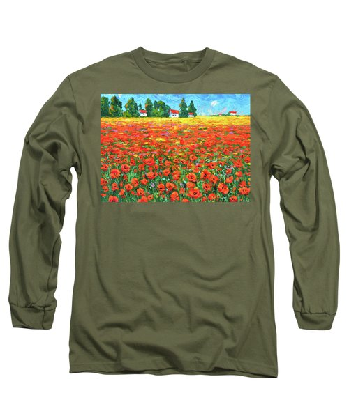 Field And Poppies Long Sleeve T-Shirt by Dmitry Spiros
