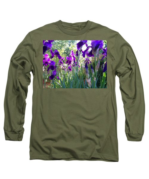 Long Sleeve T-Shirt featuring the digital art Field Of Irises by Barbara S Nickerson