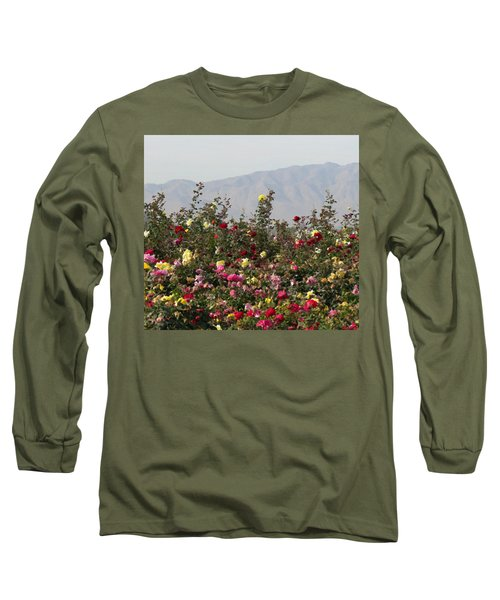 Field Of Roses Long Sleeve T-Shirt by Laurel Powell