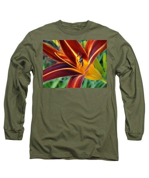 Fiery Lilies In Bloom Long Sleeve T-Shirt by Rebecca Overton