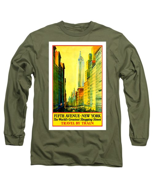 Fifth Avenue New York Travel By Train 1932 Frederick Mizen Long Sleeve T-Shirt by Peter Gumaer Ogden Collection