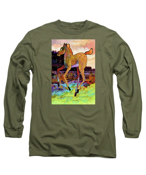 Long Sleeve T-Shirt featuring the painting Finding His Legs by Bob Coonts