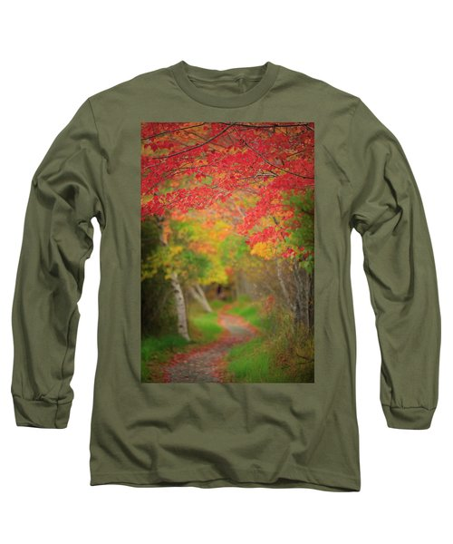 Long Sleeve T-Shirt featuring the photograph Fire Red Path  by Emmanuel Panagiotakis