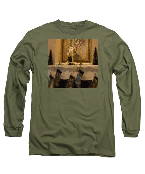 Fireplace At Christmas Long Sleeve T-Shirt by Cathy Jourdan