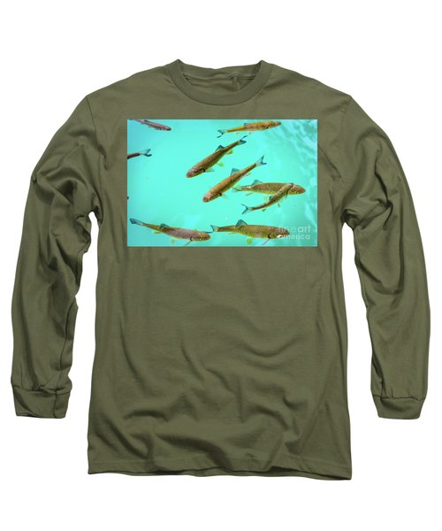 Fish School In Turquoise Lake - Plitvice Lakes National Park, Croatia Long Sleeve T-Shirt