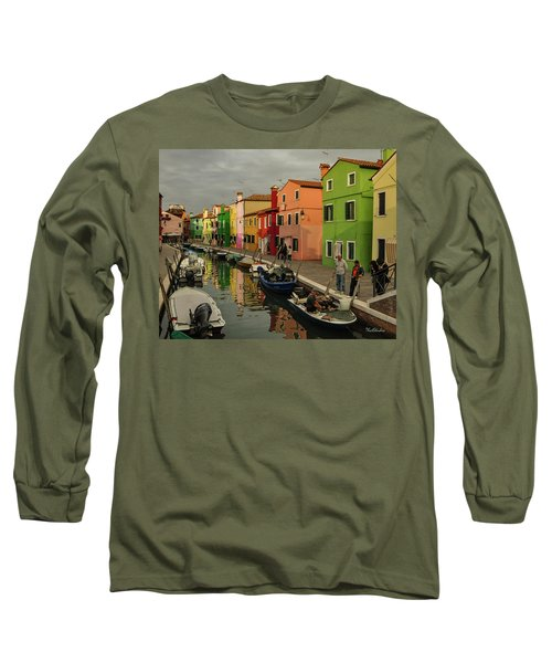 Fisherman At Work In Colorful Burano Long Sleeve T-Shirt