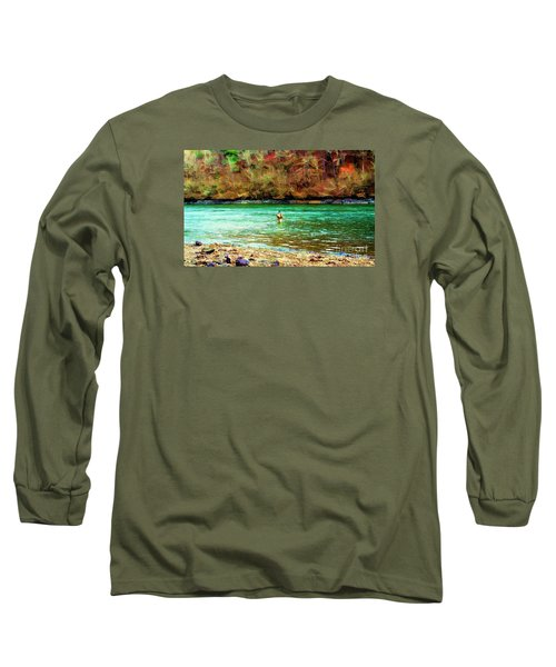 Long Sleeve T-Shirt featuring the photograph Fisherman Hot Springs Ar In Oil by Diana Mary Sharpton