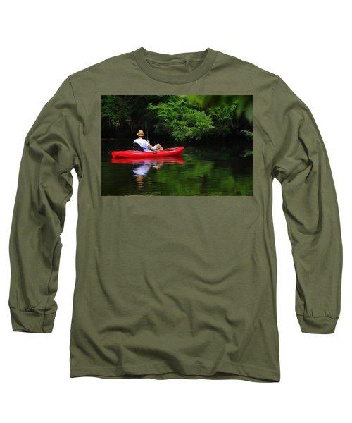 Fisherman On Lady Bird Lake - Digitalart Long Sleeve T-Shirt