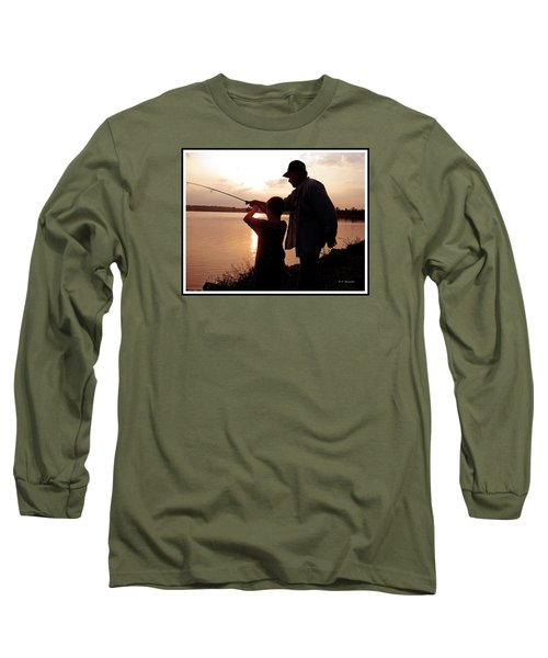 Long Sleeve T-Shirt featuring the photograph Fishing At Sunset Grandfather And Grandson by A Gurmankin