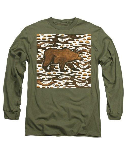 Fishing Bear Long Sleeve T-Shirt