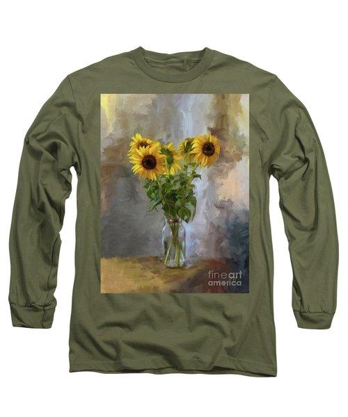 Five Sunflowers Centered Long Sleeve T-Shirt