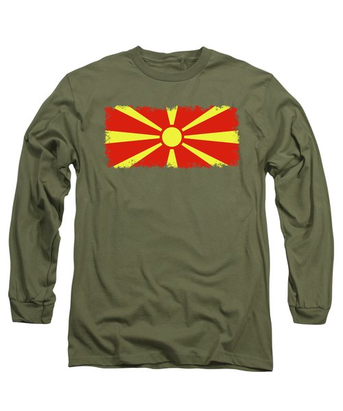 Long Sleeve T-Shirt featuring the digital art Flag Of Macedonia by Bruce Stanfield