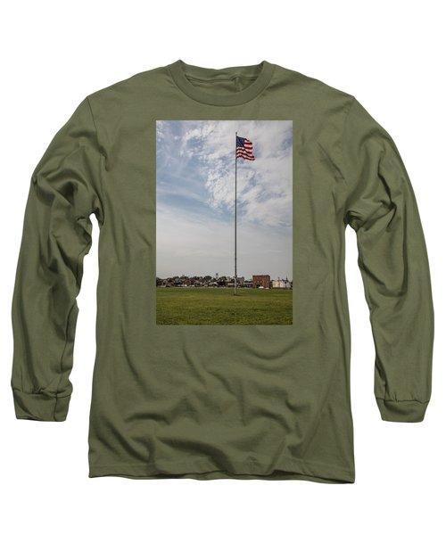 Flag Poll At Detroit Tiger Stadium  Long Sleeve T-Shirt by John McGraw