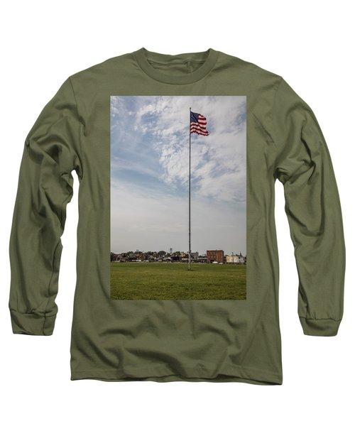 Flag Poll At Detroit Tiger Stadium  Long Sleeve T-Shirt