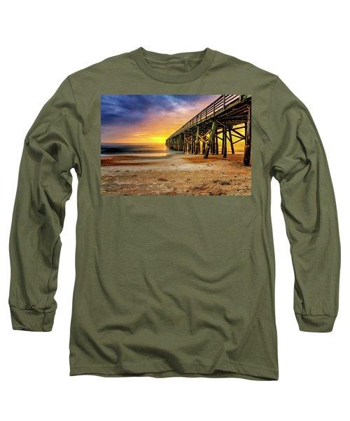 Flagler Beach Pier At Sunrise In Hdr Long Sleeve T-Shirt