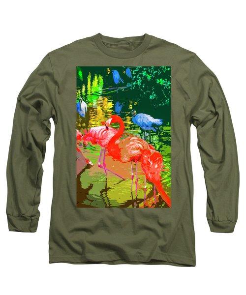 Flamingo Time Long Sleeve T-Shirt by Josy Cue