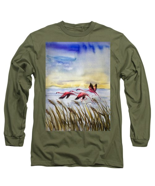 Flamingoes Flight Long Sleeve T-Shirt