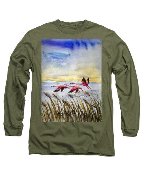 Flamingoes Flight Long Sleeve T-Shirt