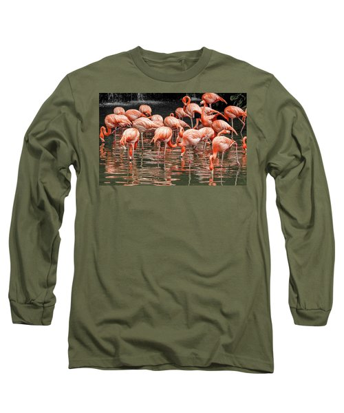Flamingo Looking For Food Long Sleeve T-Shirt