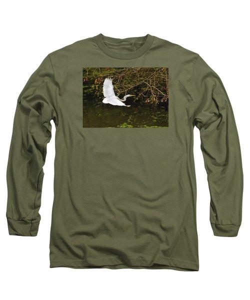Flight Of The Egret Long Sleeve T-Shirt