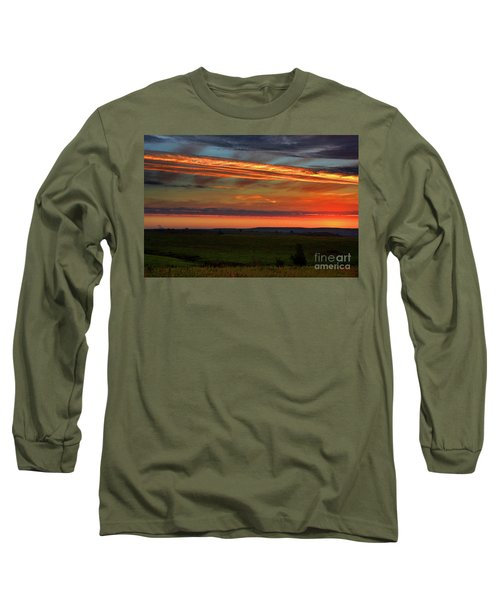Flint Hills Sunrise Long Sleeve T-Shirt by Thomas Bomstad