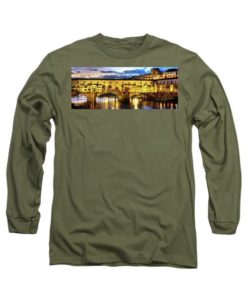 Florence - Ponte Vecchio Sunset From The Oltrarno - Vintage Version Long Sleeve T-Shirt