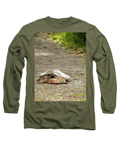 Long Sleeve T-Shirt featuring the photograph Florida Softshell Turtle  by Chris Mercer