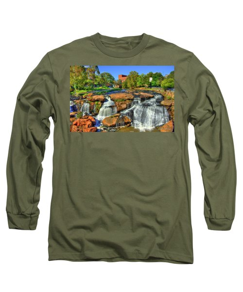 Flow On Reedy River Falls Park Art Greenville Sc Long Sleeve T-Shirt by Reid Callaway