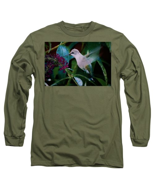Flower And Hummingbird Long Sleeve T-Shirt