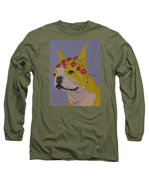 Long Sleeve T-Shirt featuring the painting Flower Dog 5 by Hilda and Jose Garrancho