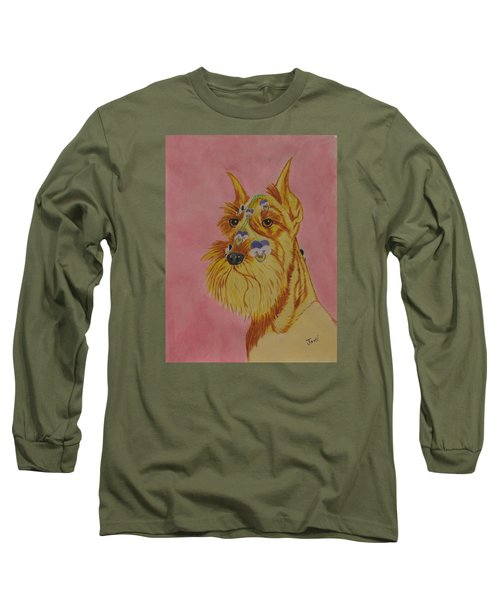 Long Sleeve T-Shirt featuring the painting Flower Dog 9 by Hilda and Jose Garrancho