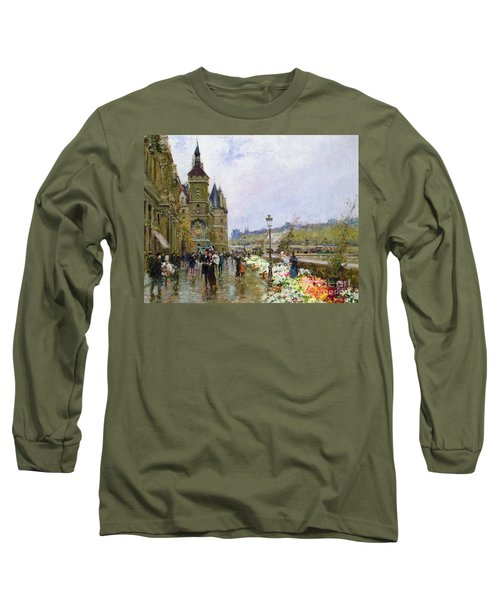 Flower Sellers By The Seine Long Sleeve T-Shirt