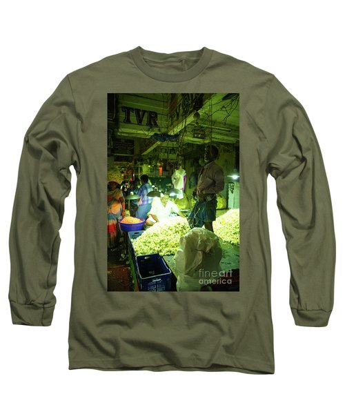 Long Sleeve T-Shirt featuring the photograph Flower Stalls Market Chennai India by Mike Reid