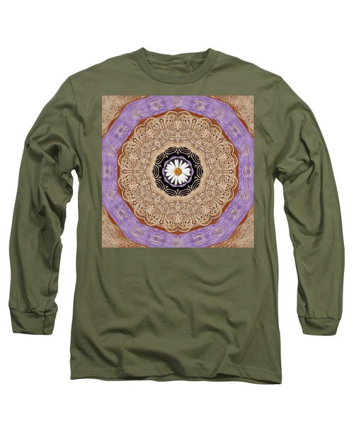 Flower With Wood Embroidery Long Sleeve T-Shirt