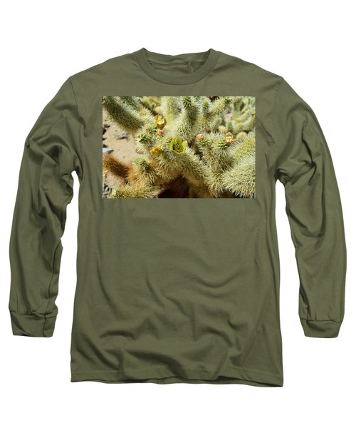 Flowering Cholla Cactus - Joshua Tree National Park Long Sleeve T-Shirt by Glenn McCarthy