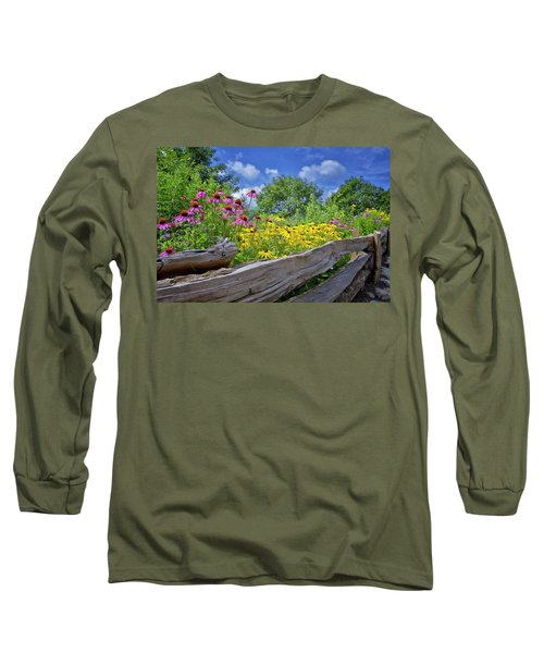 Flowers Along A Wooden Fence Long Sleeve T-Shirt
