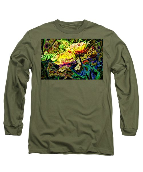 Flowers And Butterfly Long Sleeve T-Shirt by Carol Crisafi