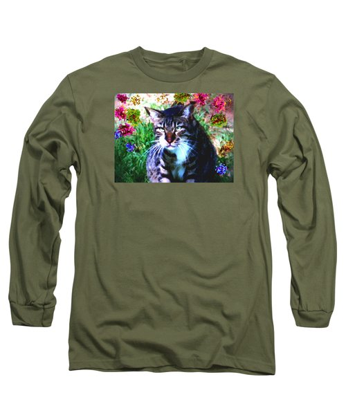 Long Sleeve T-Shirt featuring the digital art Flowers And Cat by Dr Loifer Vladimir