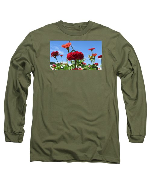 Flowers In The Blue Long Sleeve T-Shirt by Jeanette Oberholtzer