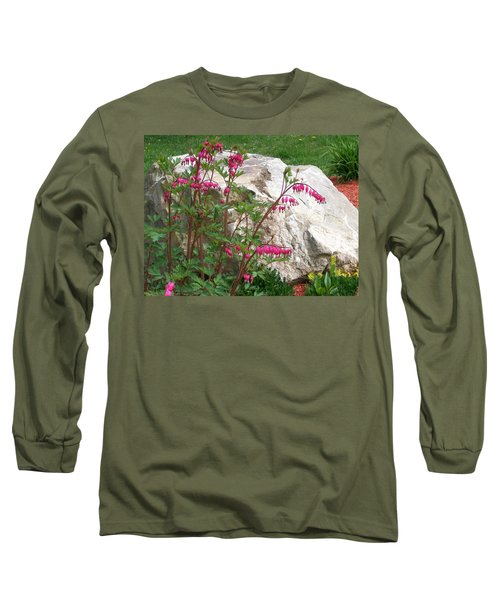 Long Sleeve T-Shirt featuring the digital art Flowers On The Rocks by Barbara S Nickerson