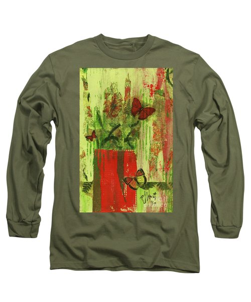 Long Sleeve T-Shirt featuring the mixed media Flowers,butteriflies, And Vase by P J Lewis