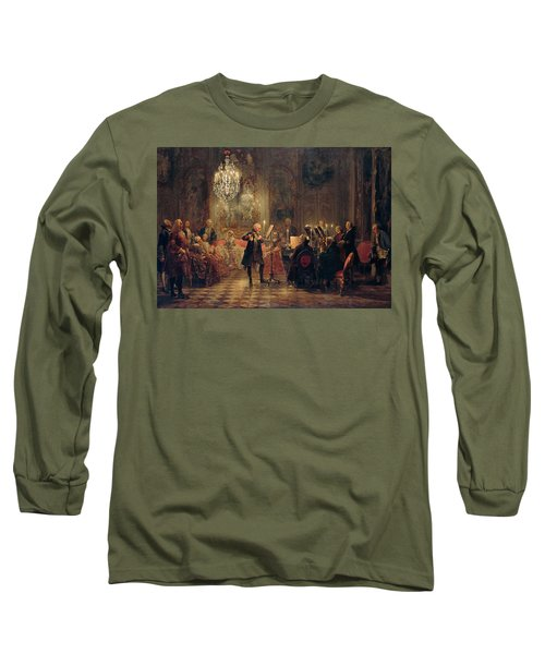 Flute Concert With Frederick The Great In Sanssouci Long Sleeve T-Shirt by Adolph Menzel